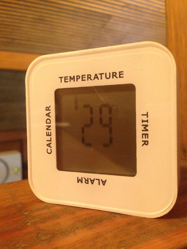 温度計の表示は29℃