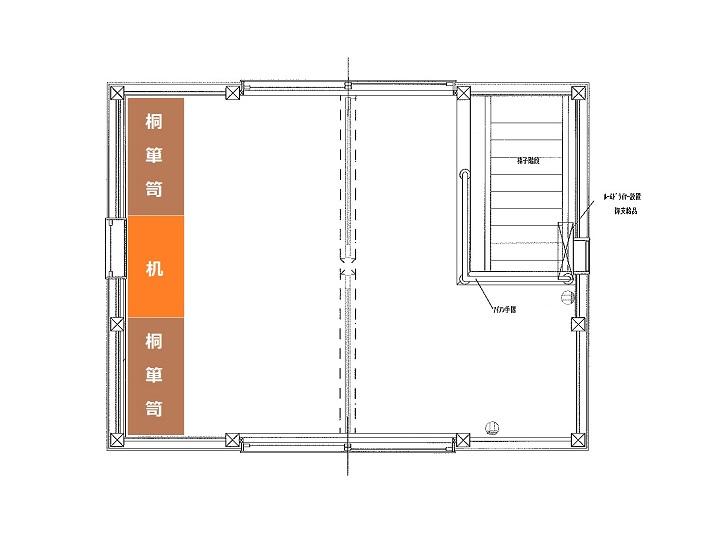 2階平面図に桐箪笥&テーブル