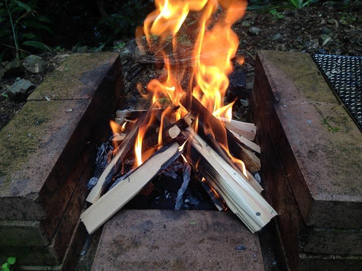 火が点いた