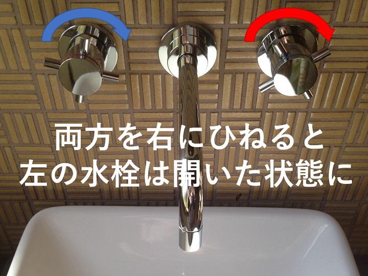 両方右だと水の栓が開栓に