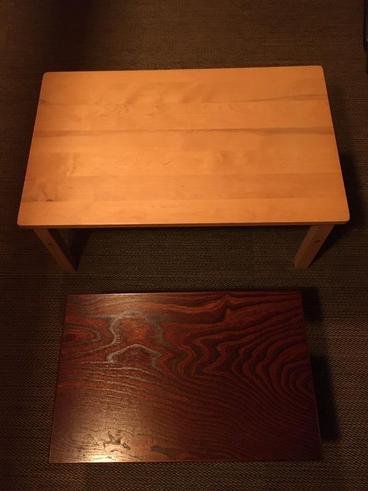 ローテーブルをならべてサイズを比較