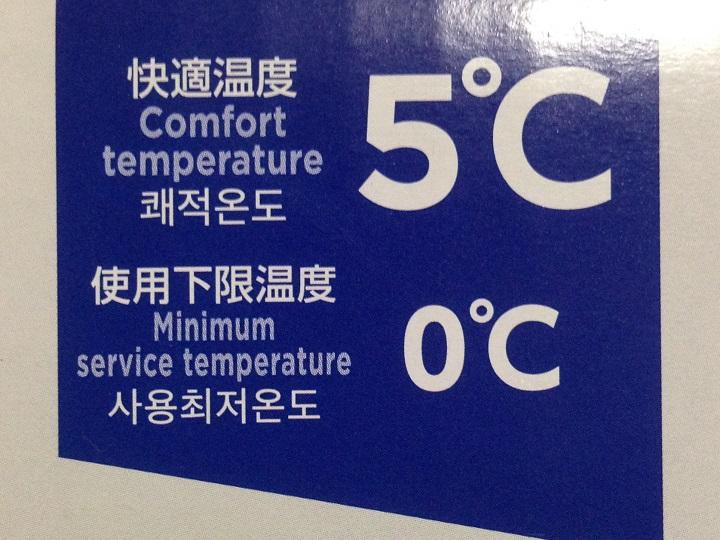 パッケージの温度表記
