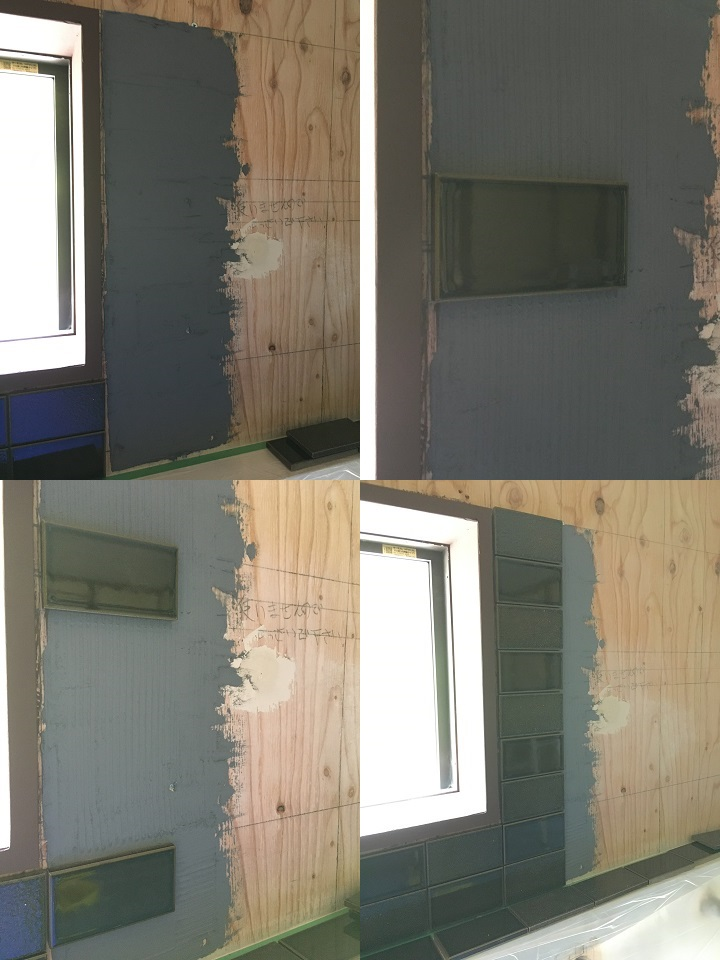 窓の右側にタイルを張る