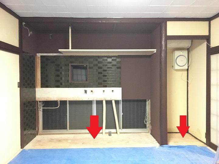 キッチンの床タイル施工部分