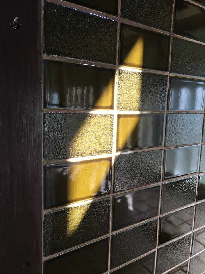 日差しを受けてオリーブ色になった壁タイル