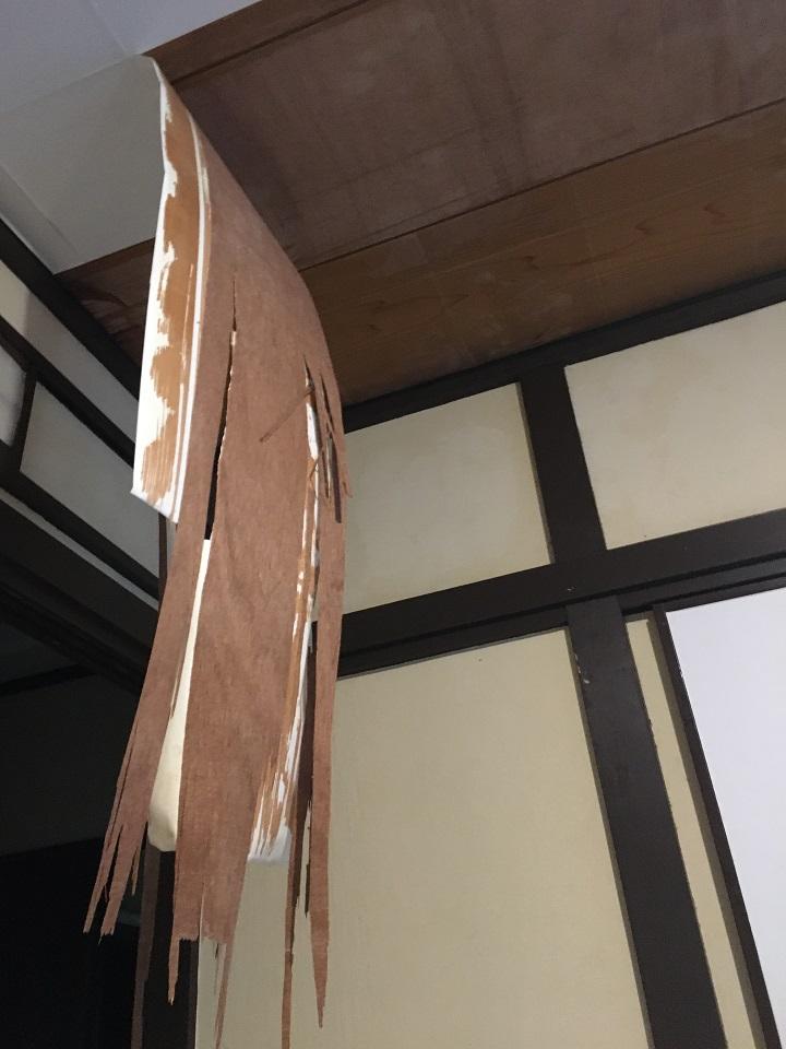 剥がれてぶら下がる天井