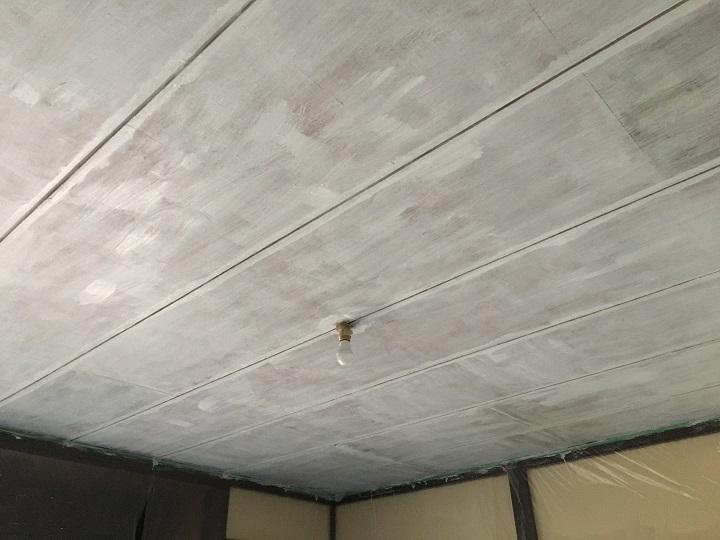 プライマーの二度塗りが完了した天井