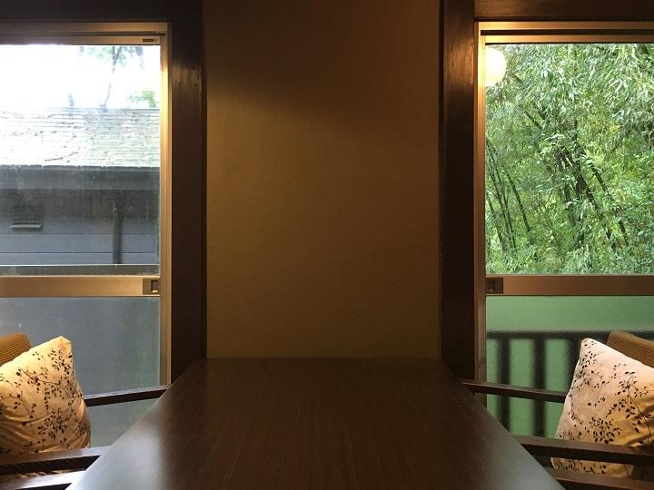 壁の前にテーブルを設置