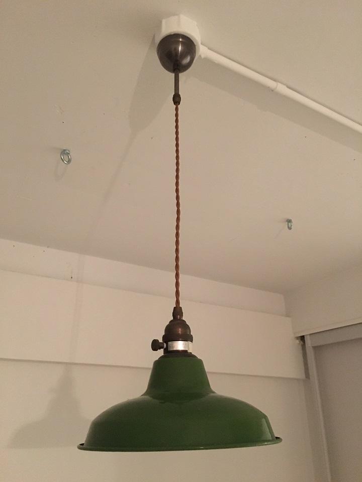 グリーンの琺瑯シェード