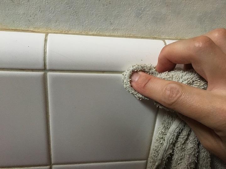 雑巾で目地をふく