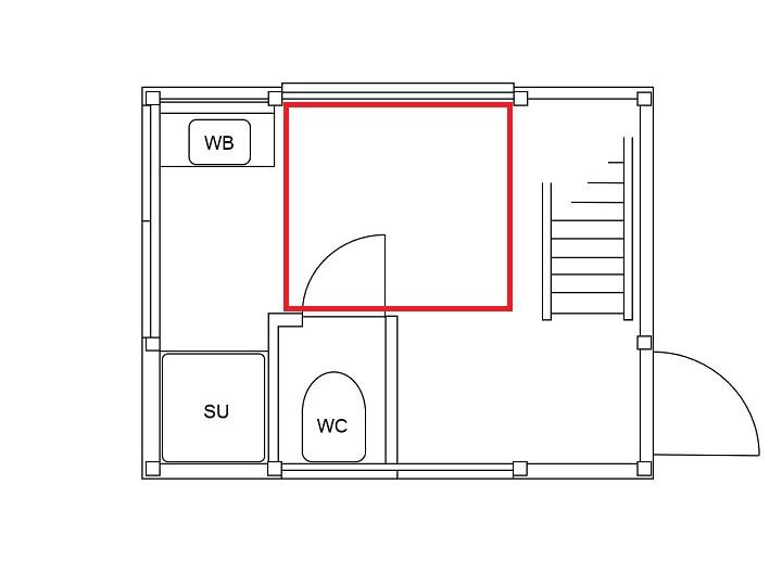 山小屋の一階の図面